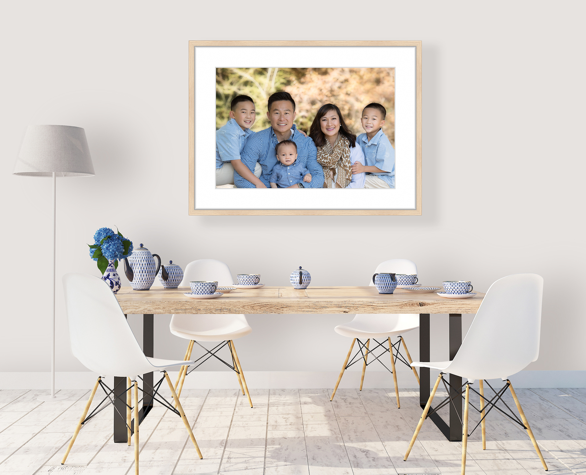 Dining room showing one big piece of wall art family photography taken at Gaby Clark Potohgraphy