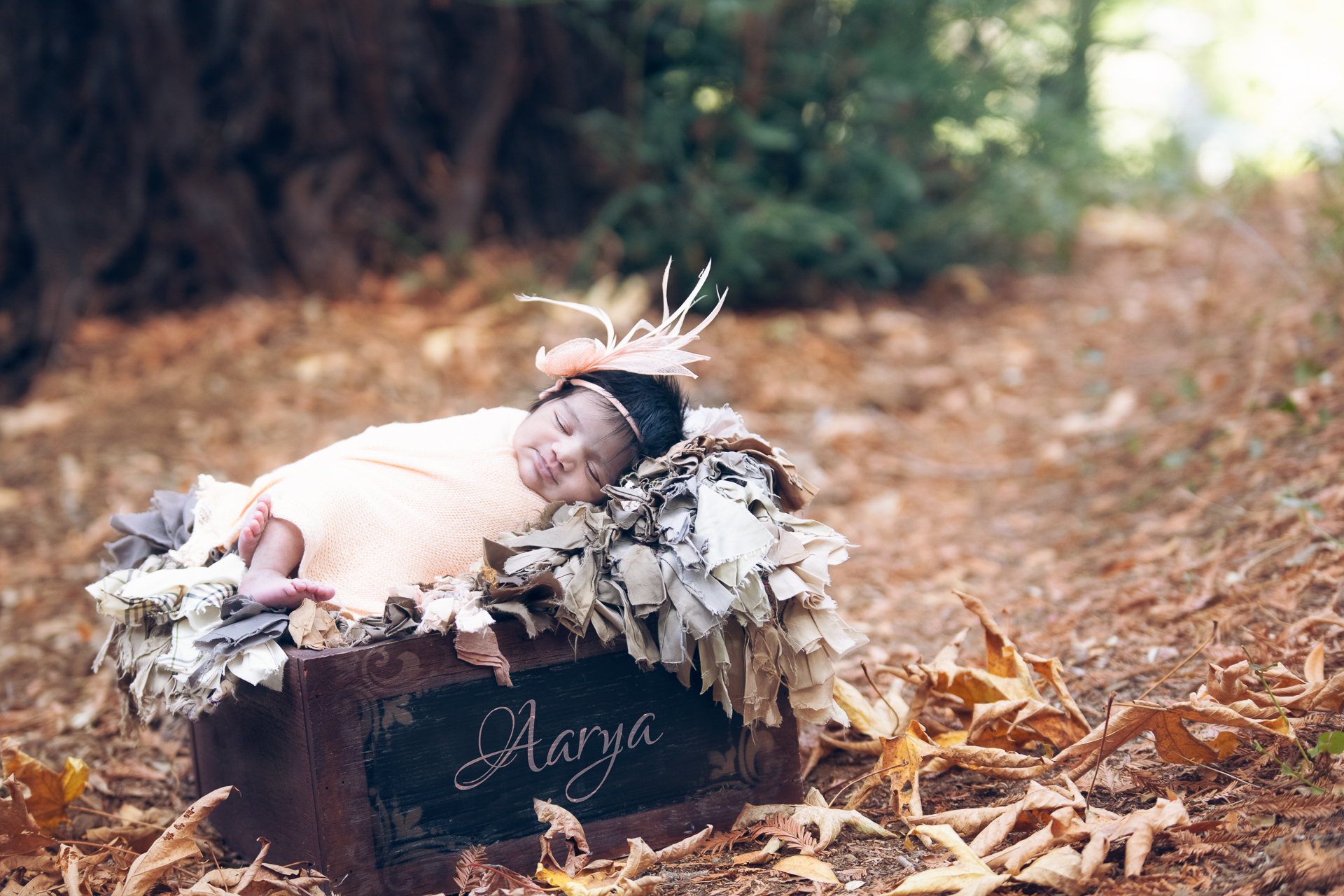 Newborn wearing a headband rests on prop decorated by gray tones carpet during fall season outdoors.