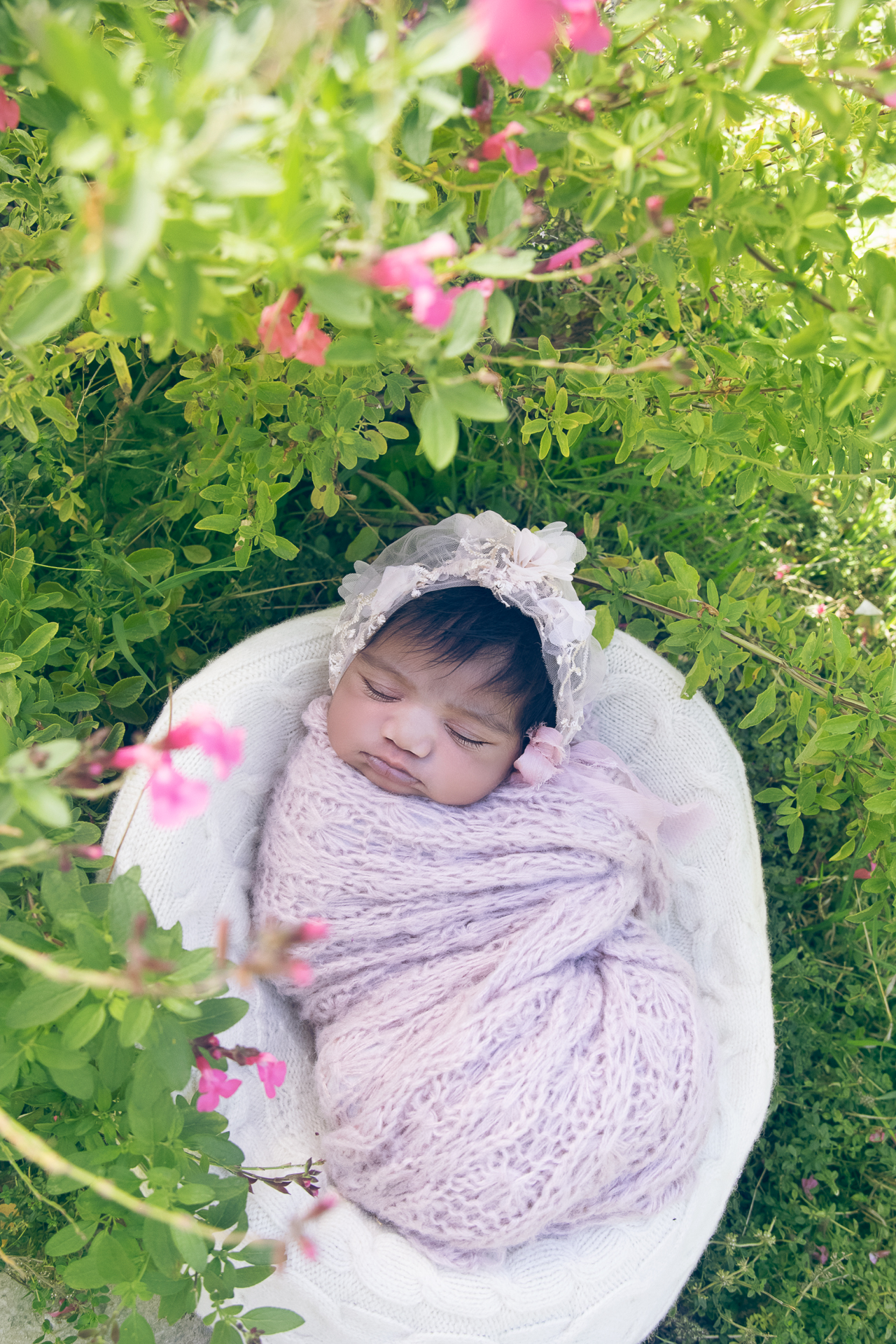 Newborn rests on light beige round prop while wearing pink wrap and pink hat outdoors.