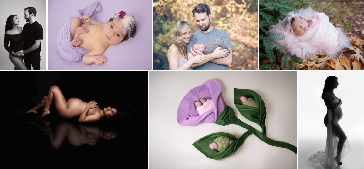 Collage. 1: pregnant woman and her husband smiling. 2: female newborn posing with purple headband in a purple wrap & backdrop. 3: Couple with their newborn outdoors. 4: Newborn girl outdoor in basket decorated with pink wrap, pink hat. 5: pregnant woman posing, reflection on the floor. 6: Four newborn siblings posing in artistic flower shape. 6: nude woman pregnant covering herself with a piece of fabric.