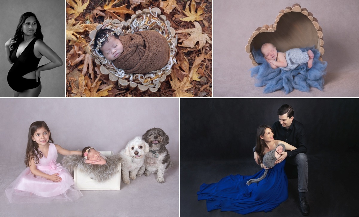 Collage. Pregnant woman wearing a black outfit. 2 newborns. One photo outdoors. Second photo indoors. A girl, two dogs and a her newborn sister. A couple and their newborn son.