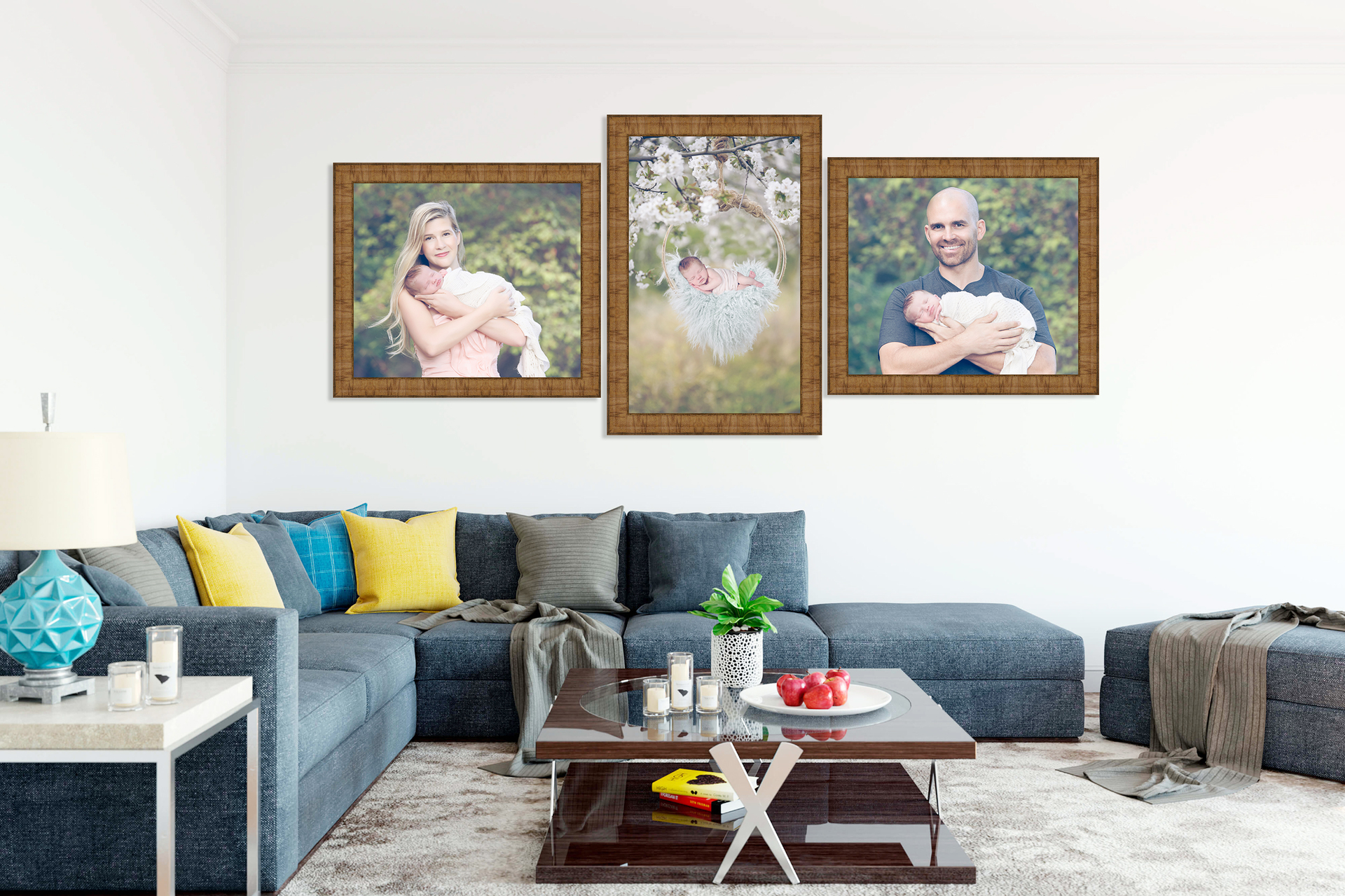 Livingroom showing three pieces of wall art. Outdoors photos taken at Gaby Clark Photography. Newborn in the middle, mom and newborn on the left, dad and newborn on the right.